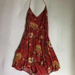 autumn red floral dress